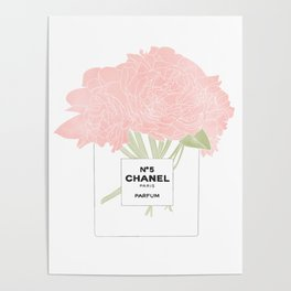 minimal no. 5 perfume with pink flowers Poster