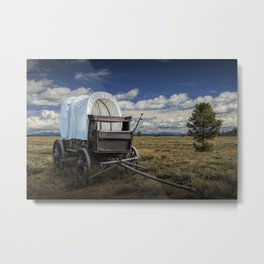 Frontier Prairie Schooner Covered Wagon in the Grand Tetons Metal Print