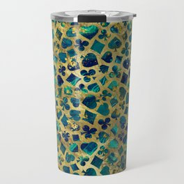 Gold and Marble Suits Pattern Digital Art Travel Mug
