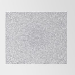 Most Detailed Mandala! Cool Gray White Color Intricate Detail Ethnic Mandalas Zentangle Maze Pattern Throw Blanket