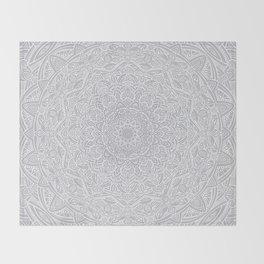 Most Detailed Mandala! Cool Gray White Color Intricate Detail Ethnic Mandalas Zentangle Maze Pattern Throw Blanket