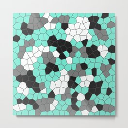 Abstract in Teal and Gray Metal Print