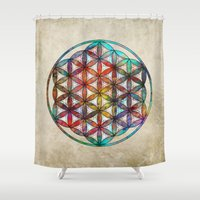 flower of life Shower Curtains featuring Flower of Life by Klara Acel