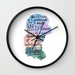 Jane Austen Bookworm Quote Wall Clock