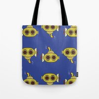yellow submarine Tote Bags featuring Yellow submarine by Posterity