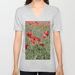 poppy flower no9 Unisex V-Neck