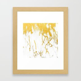 White Chocolate Marble Drizzled With Gold Veins Framed Art Print