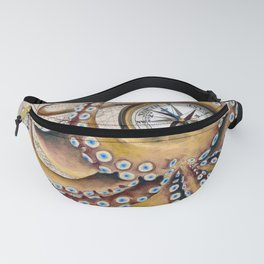 Octopus and Compass Collage Map Fanny Pack