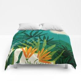 Tropical Moonlight / Night Scene Illustration Comforters