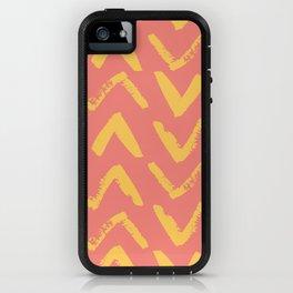 Modern Brush Stroke Chevrons - Coral & Yellow iPhone Case
