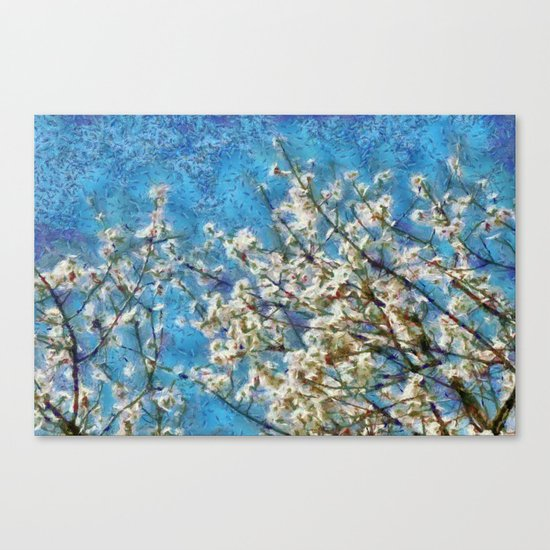 Blossom and Blue Sky In Monet Style Canvas Print