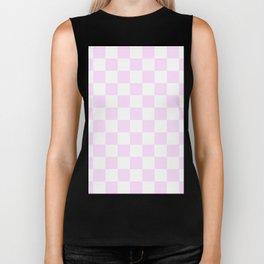 Checkered - White and Pastel Violet Biker Tank