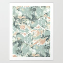 Marble Mist Green Peach Art Print