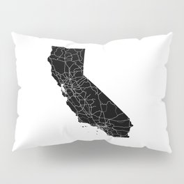 California Black Map Pillow Sham