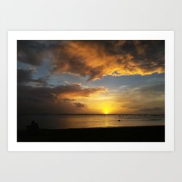 The Magic Minute when the Sun Dips the Water Art Print