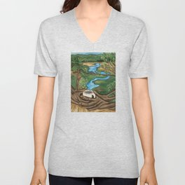 River landscape in a Coffee Cup- Pheasant Branch Conservancy Unisex V-Neck