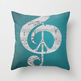 Music & Peace Aqua Sheets Throw Pillow