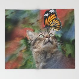 Cat playing with butterfly Throw Blanket