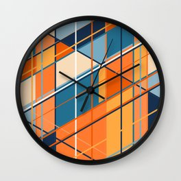 orangetown Graphic abstract lines digital painting Wall Clock