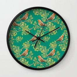 Red Robin & Emerald Green Pattern Wall Clock