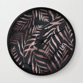 Rose Gold Leaves on Dark Gray Black Wall Clock