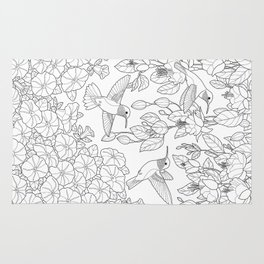 Hummingbirds and Flowers Coloring Page Rug