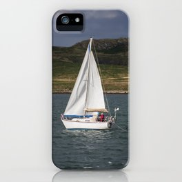 Yacht 238 sailing from Howth, with Irelands Eye in the background iPhone Case