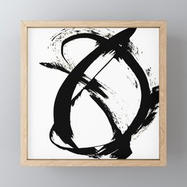 Brushstroke 7: a minimal, abstract, black and white piece Framed Mini Art Print