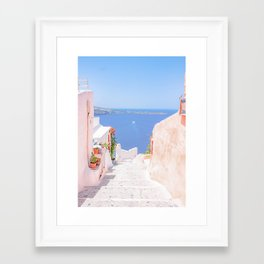 Santorini Greece Mamma Mia pink street travel photography Framed Art Print