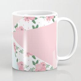 Geometric modern pink teal floral color block pattern Coffee Mug