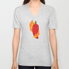 Red chili peppers and fire Unisex V-Neck