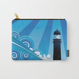 Blue stylized sea with big waves and lighthouse Carry-All Pouch
