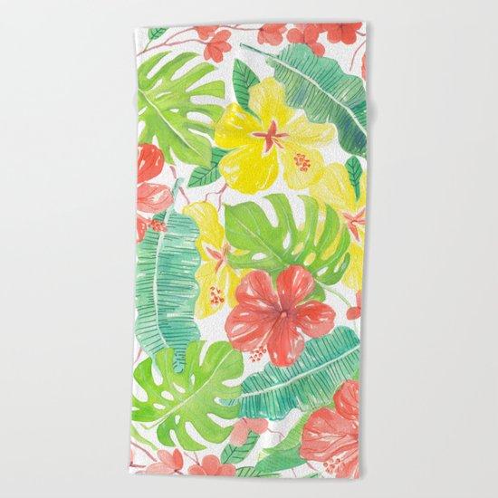 Tropical garden, hibisus, plumeria and palm leaves Beach Towel