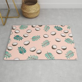 Little coconut garden summer surf palm leaves pink Rug