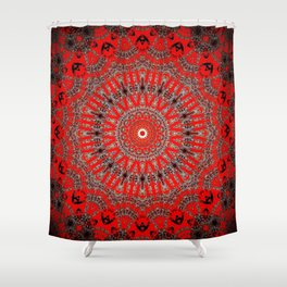 Rich Red Vintage Mandala Shower Curtain