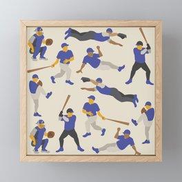 Pattern of Baseball Players in Blue Framed Mini Art Print