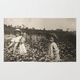 Vintage Photo of Sisters and Flowers Rug