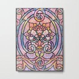 Pastel Orange, Blue and Purple Art Nouveau Stain Glass Art Metal Print