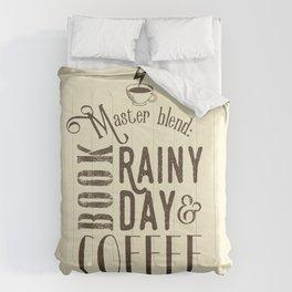 Coffee, book & rainy day II Comforters