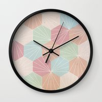 pastel Wall Clocks featuring Pastel by According to Panda