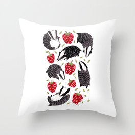 Badgers and Strawberries Throw Pillow