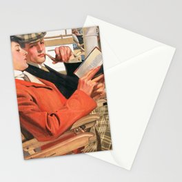 12,000pixel-500dpi Joseph Christian Leyendecker - Two On The Deck Chair - Digital Remastered Edition Stationery Cards