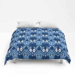 Ikat pattern indigo Comforters