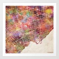 toronto Art Prints featuring Toronto by MapMapMaps.Watercolors