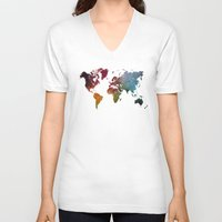 world map V-neck T-shirts featuring World Map by jbjart