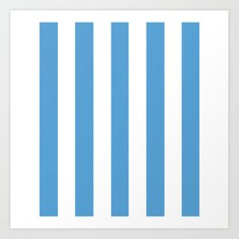 Carolina blue - solid color - white vertical lines pattern Art Print