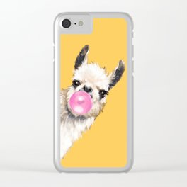 Bubble Gum Sneaky Llama in Yellow Clear iPhone Case