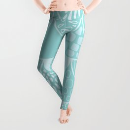 Abstract blue scales doodle vector repeating pattern Leggings