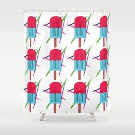 Retro popsicle Shower Curtain