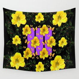 BLACK ART  YELLOW AMARYLLIS FLOWERS BUTTERFLY FLORAL Wall Tapestry